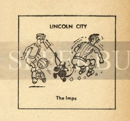 VINTAGE Football Print LINCOLN CITY - THE IMPS Funny Cartoon